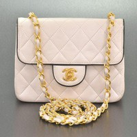 Chanel Vintage White Quilted Leather Mini Matrasse Bag - Bags - Vintage | Portero Luxury