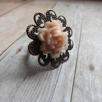 Light Pink Filigree Rose Adjustable Ring Flower Girl Gift Wedding Bridal Bridesmaids Gift