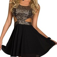 VonFon Women Sexy Glitter Sequines Tunic A Line Dress Clubwear Dance Performance