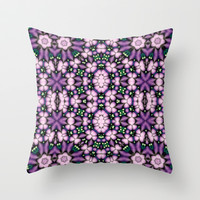 Cute Pink and Purple Flowers Throw Pillow by Ellens Kreative Kaos