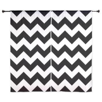 "Black With White Chevron Stripes 60"" Curtains> Black And White Chevron> KCavender Home Goods"