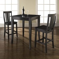 3-Piece Pub Dining Set Table with 2 Cabriole Leg Shield Back Chairs