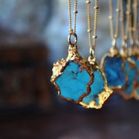 PETITE AQUA  /// Small Turquoise Chunk Necklace /// Electroformed 24kt Gold