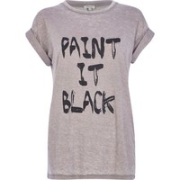 Light brown burnout paint it black t-shirt