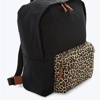 Black & Leopard Canvas Zip Backpack