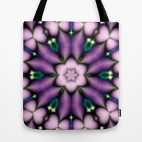Purple and Pink Flower Tote Bag by Ellens Kreative Kaos
