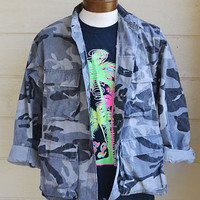 Vintage Military Camo Shirt Jacket Black and Grey 80s Night Tactical Camo Size M