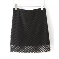 Solid Color Mesh Splicing Hollow Out Slimming Fashionable Women's Skirt