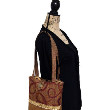 Brown tapestry tote, Burgundy tote bag, Brown i pad bag, Brown tapestry shoulder bag, brown book tote bag, tapestry hand bag