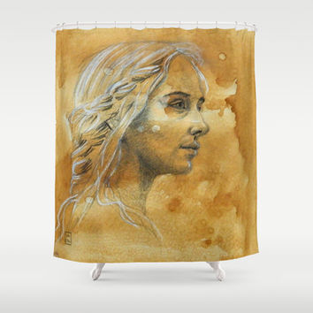 Woman Shower Curtain by Carina Povarchik