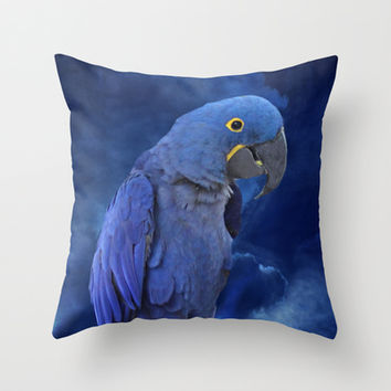Hyacinth Macaw and Blue sky Throw Pillow by Erika Kaisersot