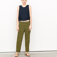 LOOSE FIT TROUSERS WITH GEOMETRIC PRINT