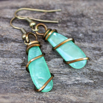 Natural Chrysoprase Earrings - Seafoam Green Gemstone Earrings - Chrysoprase Jewelry - Wire Wrapped Stone Earrings - Boho Gypsy Jewelry