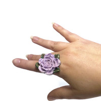 Purple Flower Ring, Polymer Clay Jewelry, Bridal Party Bridesmaid Jewelry, Large Statement Ring, Unique Adjustable Accessory