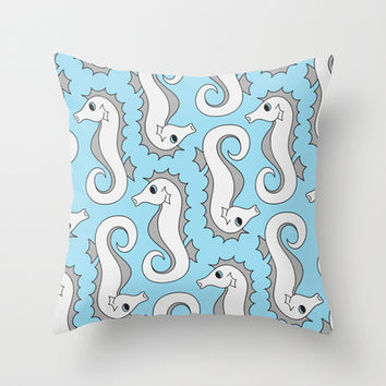 Seahorse Mania Throw Pillow by tzaei | Society6