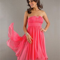 Short Strapless Empire Sequin Embellished Ruched Homecoming Dress PD1897