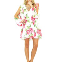 West Coast Wardrobe Floral Gardens V-Neck Baby Doll Dress in White