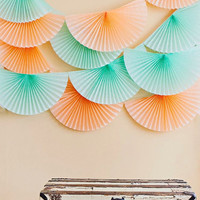 party decor  ... pomwheel garland ... bunting fan medallion banner // wedding decorations // tablescape backdrop  // mint peach blush gold