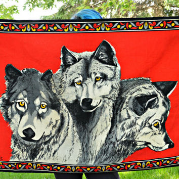 Red n Black Graphic Cloth Wolf Wall Hanging w/ Yellow n White n Light Blue Accents - HA-VA-TI