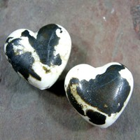 Heart Bead Rustic Glass Lampwork Pair Ivory Copper Leaf Ancient Medium
