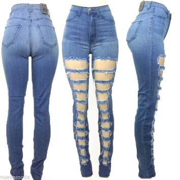 High Waist Classic Blue Jean Pants with Laddered Cut Outs All Sizes Made in USA
