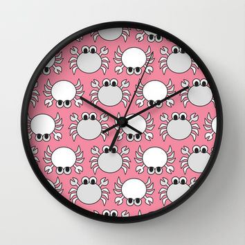 Don't Be Crabby Wall Clock by tzaei | Society6