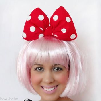 Minnie Mouse Bow Headband hair RED polka dots woman teens birthday party disney