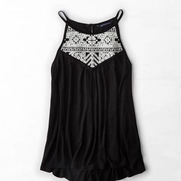 AEO HIGH NECK EMBROIDERED TANK