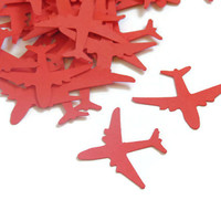 red airplane confetti - kids birthday party decor by partyparts - 100 pieces