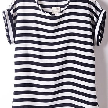 Classic Striped Chiffon Top