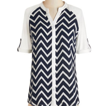 ModCloth Nautical Mid-length Short Sleeves Day by the Bay Top