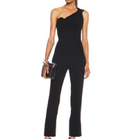 Nortoni Double Crepe Viscose-Blend Jumpsuit in Black