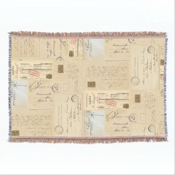 French Vintage Postcards Throw Blanket