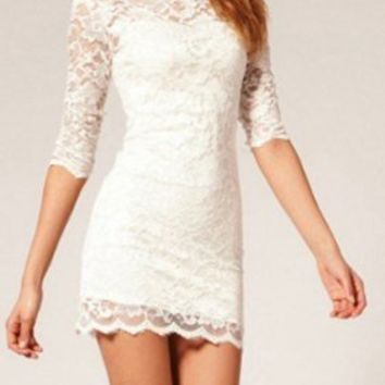 Magic Pieces Women's White nice lace dress 0725J