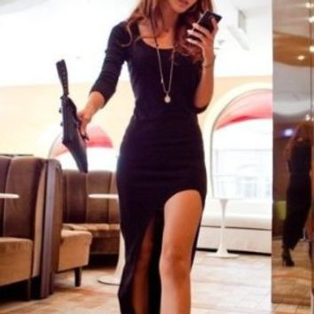 Magic Pieces Women's Sexy Long Sleeve Asymmetrical Dress 0725J