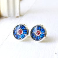 rose window silver post cabochon earrings, red blue, bohemian, faux plugs, fake plugs, stud