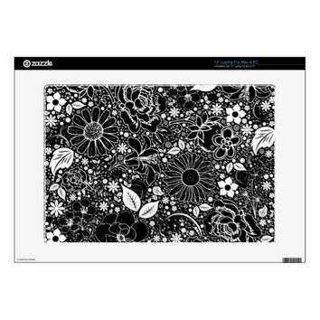 "Botanical Beauties Black n White 15"" Laptop SKIN"