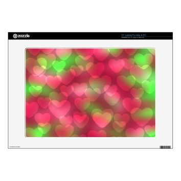 Bokeh Hearts Pink-Green Vinyl Laptop Skin