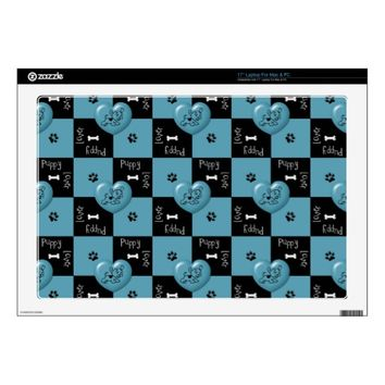 Puppy Lover BLUE Vinyl Laptop Skin