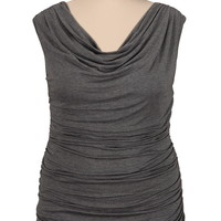 ruched side drape neck sleeveless plus size top