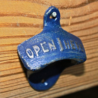 "Navy Blue ""OPEN HERE"" Bottle Opener by AquaXpressions"