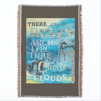 Castle in the Clouds Art Collage Throw Blanket