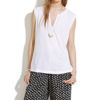 Split-Neck Sleeveless Tee