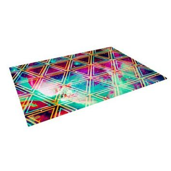 "Kess InHouse Caleb Troy ""Neon Triangle Galaxy"" Map Outdoor Floor Mat/Rug, 4 by 5-Feet"