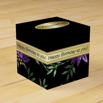 Elegant Black and Purple Floral Glitter Favor Box