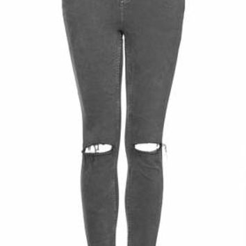 MOTO GREY WASH RIPPED JAMIE JEANS