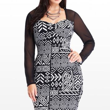 Plus Size Selena Mesh Aztec Dress | Fashion To Figure