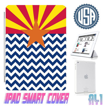 Arizona Flag Chevron Ipad Smart Cover @ IPad Air Smart Cover , IPad Mini Case , IPad 4 , Ipad 3 Ipad 2 Magnetic Sleep Wake  IPhone 5 4 Case