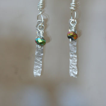 Hammered Sterling Silver Earrings with Faceted by LesleyPridgen