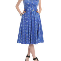 Blue And White Polka Dot Belted Dress